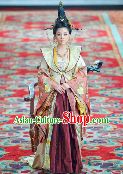 Traditional Ancient Chinese Wig and Headdress Set