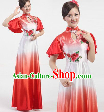 Traditional Chinese Stage Performance Fan Dancing Costume Complete Set
