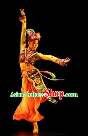 Chinese Dai Clothes and Headdress Complete Set for Women