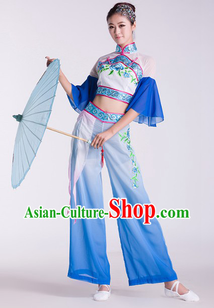 China Umbrella Dancing Costumes Complete Set for Women