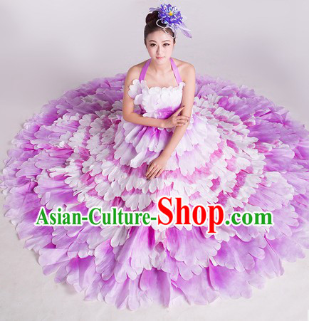 China Flower Dance Costumes and Headwear Complete Set for Women