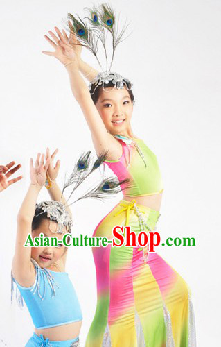 China The Dai Minority Dance Costumes and Headwear Complete Set for Children