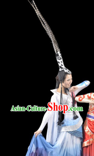 Ancient Chinese Beauty Dance Costume and Headdress Complete Set for Women