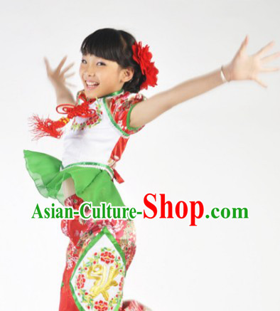 Chinese New Year Dresses Dances Costume and Headdress Complete Set for Children