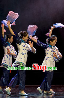 China Grandmother Group Dancing Costume and Headdress Complete Set for Women
