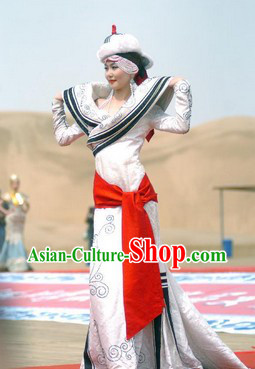 Mongolian National Costume and Hat Complete Set for Women