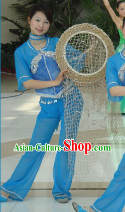 Asian Village Blue Dance Costumes