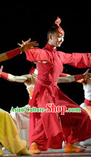 Long Red Mandarin Stage Performance Costumes for Women