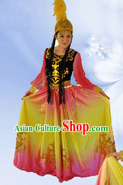 China Xinjiang Dance Outfit and Hat Complete Set for Women
