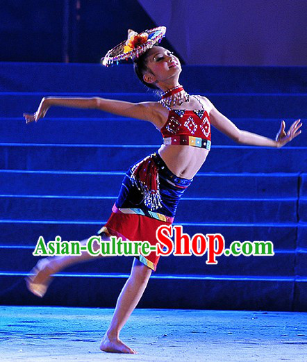 China Dai Dance Outfit and Bamboo Hat Complete Set for Girls