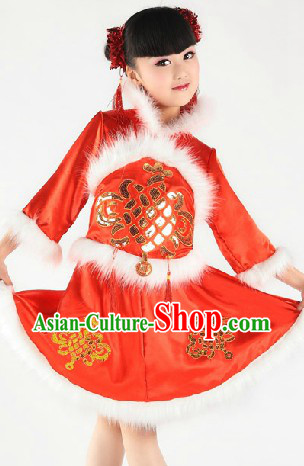 Red New Year Stage Performance Dance Costume for Children