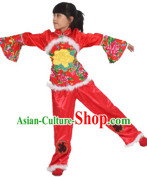 Red Lunar New Year Stage Performance Dance Costume for Girls