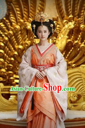 Han Dynasty Princess Hanfu Clothing and Headwear for Women