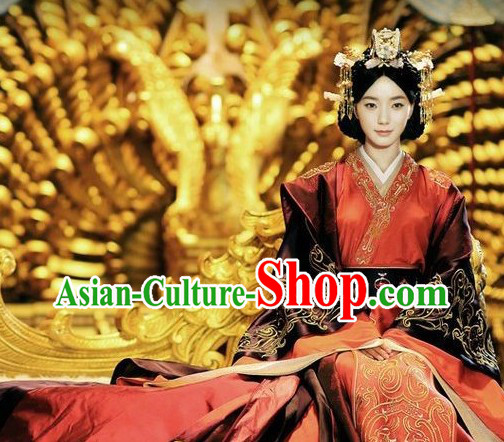 Han Dynasty Empress Wedding Outfit and Headwear for Women