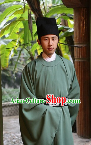 Song Dynasty Chinese Traditional Costume and Hat for Men