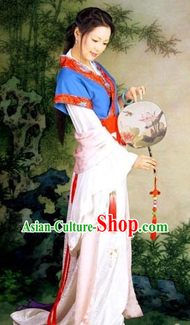 Chinese Traditional HanFu Costume and Earrings for Women