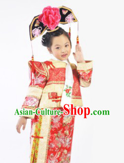 Qing Dynasty Ruo Xi Childhood Princess Clothing and Headdress for Kids