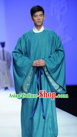 Blue Ancient Chinese Tang Dynasty Male Clothing Complete Set for Women