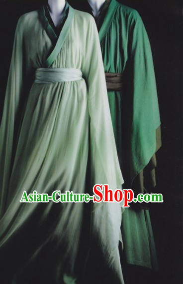 Traditional Ancient Chinese Green Hanfu Clothing for Men and Women
