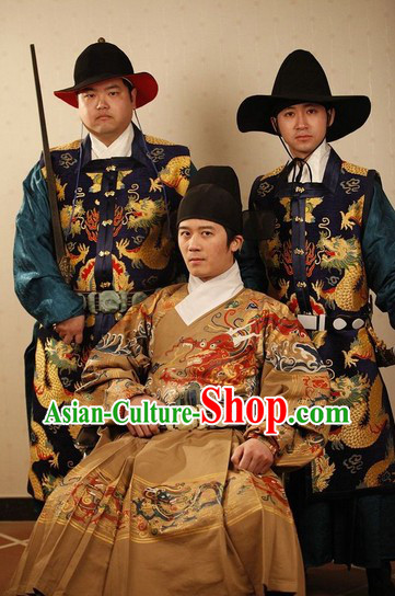 Ancient Chinese Archer Official Clothing and Hat Complete Set for Men