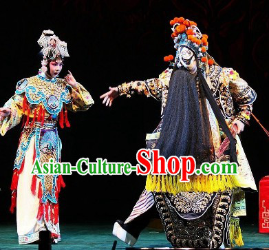 Farewell to My Concubine Beijing Opera Costumes 2 Complete Sets for Men and Women