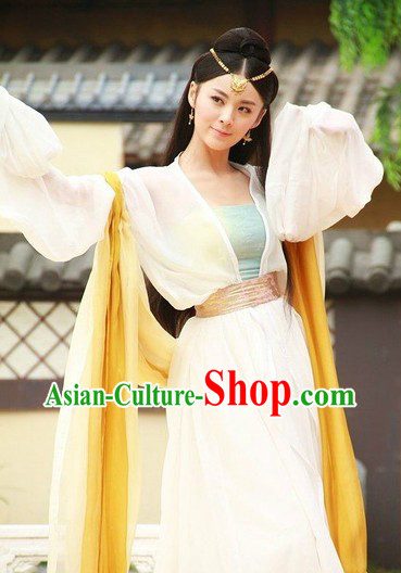 Ancient Chinese Beauty White Dance Costume for Women