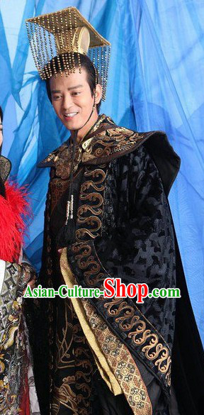 Ancient Chinese Emperor Clothing and Hat for Men