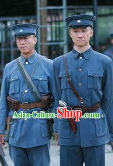 Minguo Time Military Officer Costumes Uniform and Cape Complete Set