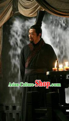 Ancient Chinese Qin Dynasty Government Officier Hanfu Robe and Hat for Men