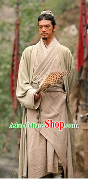Ancient Chinese Wise Zhu Ge Liang Costume and Feather Fan for Men