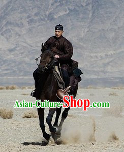 Chinese Traditional Black Landlord Jacket and Skirt for Men