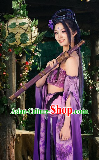 Ancient Chinese Purple Fairy Costumes Complete Set