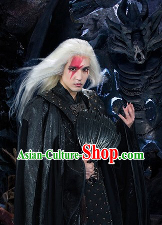 Black Ancient Chinese White Fox Film Swordsman Costumes and Fan Complete Set