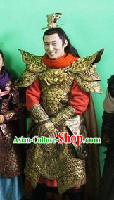 Ancient Chinese Tang Dynasty General Armor Costumes and Helmet for Men