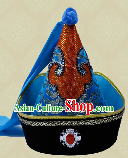 Handmade Traditional Chinese Velvet Mongolian Headdress for Men