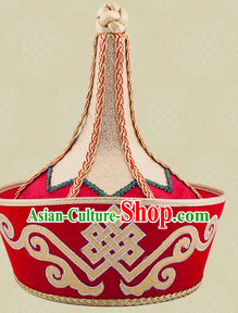 Handmade Traditional Chinese Mongolian Wedding Hat for Bridegroom