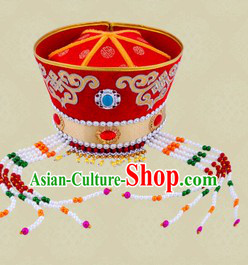 Traditional Chinese Ethnic Mongolian Wedding Hat for Women