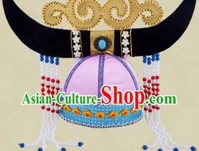Traditional Chinese Ethnic Mongolian Oxhead Hat for Women