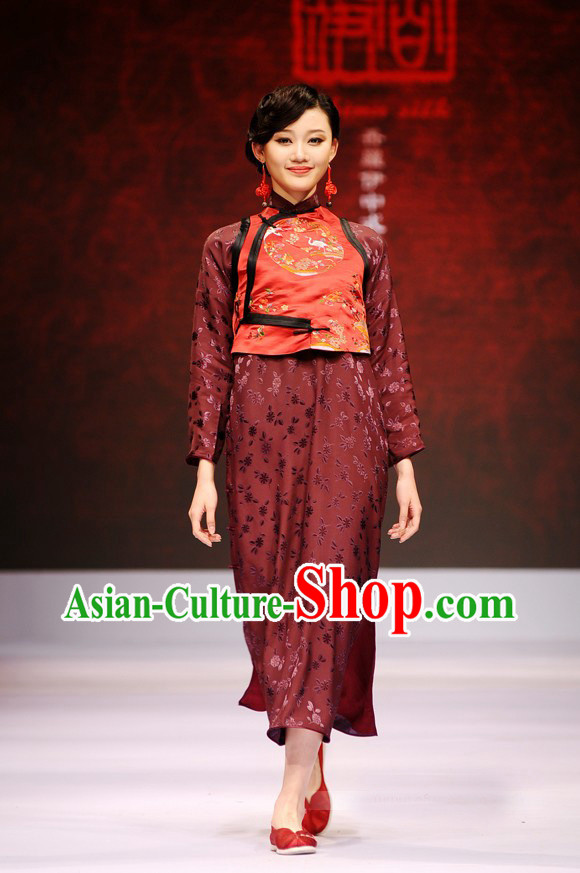 Chinese Jacket style Loose Cheongsam Costumes