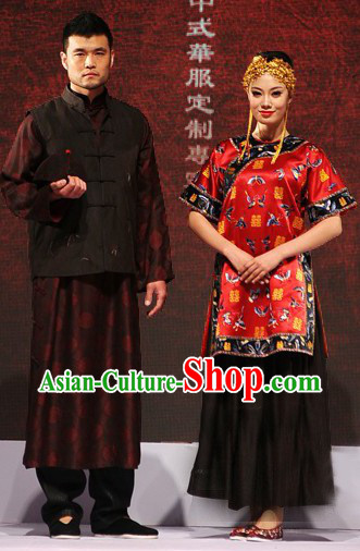 Chinese Luxury Couple Wedding Dresses Two Sets