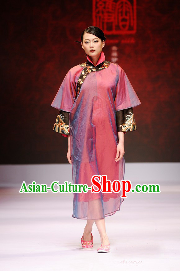 High Collar Two Pieces Luxury Chinese Silk Costumes