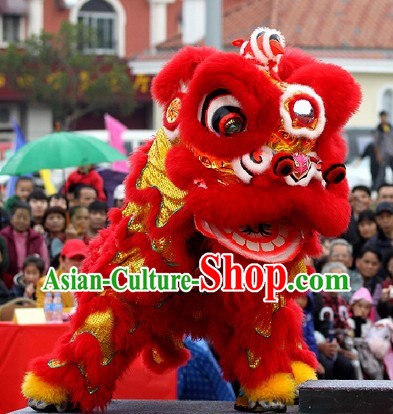 Happy Lunar New Year Supreme Grand Opening and Happy Celebration Red Lion Dance Costume Complete Set