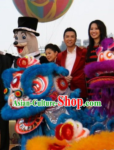 Wish You a Happy New Year Top Blue Lion Dance Costume Complete Set