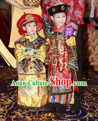 Traditional Chinese Emperor and Empress Costumes and Hats Two Complete Sets for Boys and Girls