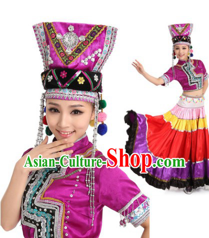 Yi Minority Dance Costumes and Butterfly Headdress for Women