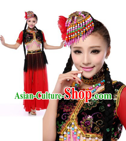 Traditional Xinjiang Dance Costumes and Headdress for Women