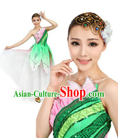 Professional Chinese Classic Green Dance Costumes and Headwear Complete Set for Women