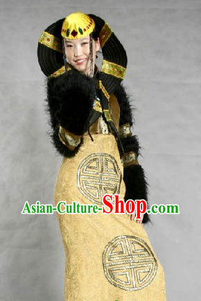 Chinese Traditional Mongolian Suit and Hat for Women