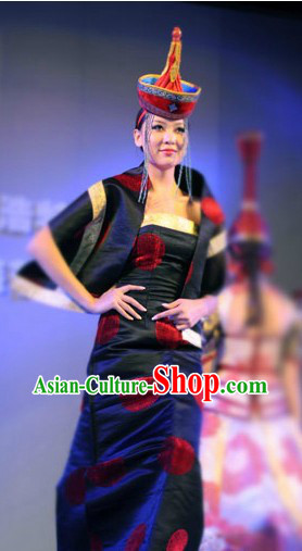 Chinese Traditional Mongolian Attire and Hat Complete Set for Women