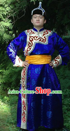 Traditional Mongolian Prince Clothing and Hat Complete Set